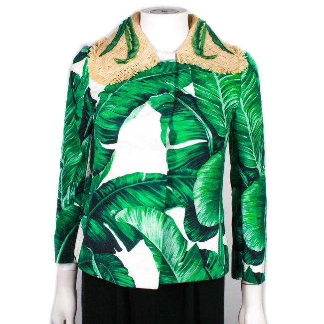 Item - Green White Tan Banana Leaf Print Jacket Straw Collar Us - 36 Blazer Size 00 (XXS)