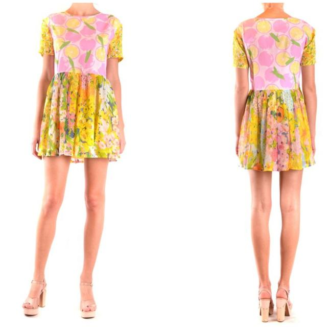 Item - Yellow Floral Fruits Fit & Flare Spring Silk Blend Floral Gathered Mini Short Cocktail Dress Size 8 (M)