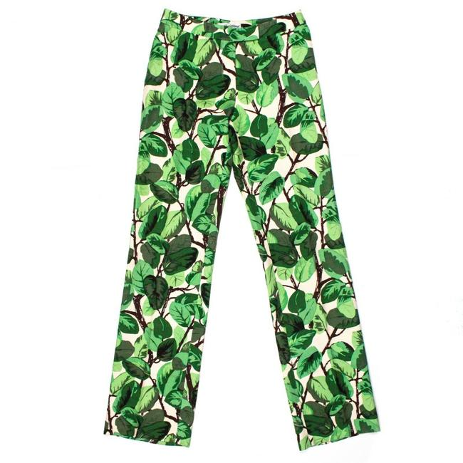 Item - Green White Brown Iconic 1996 Runway Super Rare Leaf Print Us 0 - 38 Pants Size 0 (XS, 25)