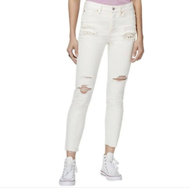 Item - White Distressed Lacey Stilt Skinny Jeans Size 27 (4, S)