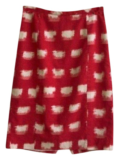 Item - Red White Ackee Pencil Skirt Size 6 (S, 28)