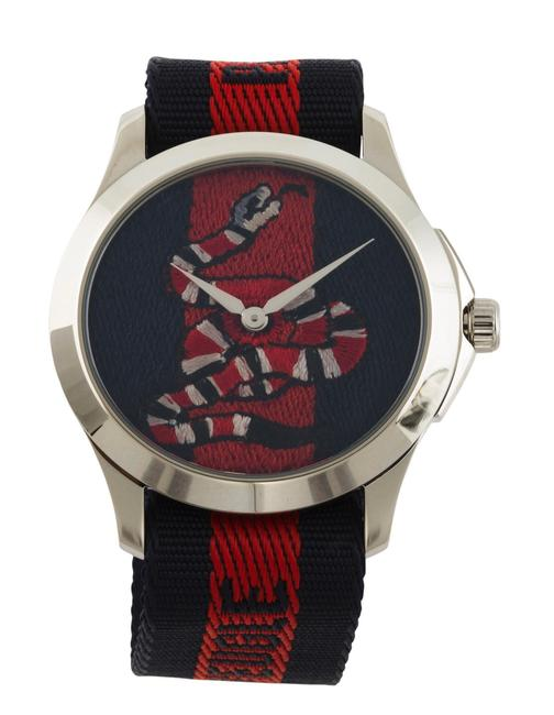 Item - Navy Red Silver Le Marche Des Merveilles Nylon Strap Watch