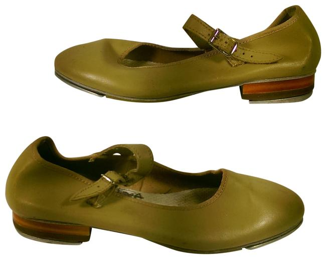 Item - Tan Brown Youth Girl's Leather Dance Tap 2.5m Flats Size US 4 Regular (M, B)