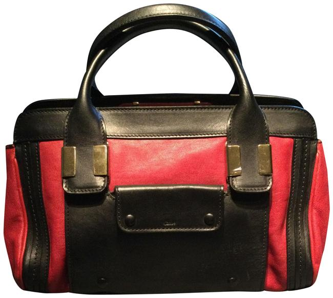 Item - Alice Red and Black Lambskin Leather Satchel
