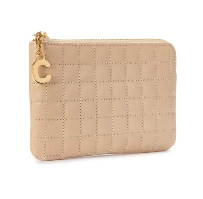 Item - Beige Charm Coin & Card Pouch In Quilted Leather Wallet
