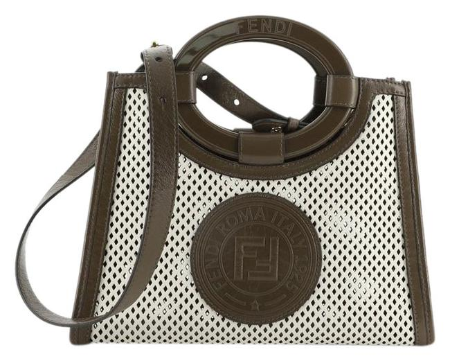 Item - Runaway Shopper Perforated Mini Brown White Leather Tote