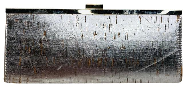 Item - Hard Shell Snap Silver Polyester Clutch