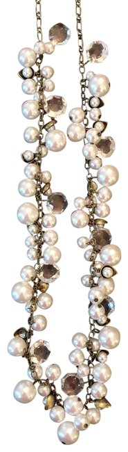 Item - White Vintage Brass Metal Tone Long Or Double Necklace