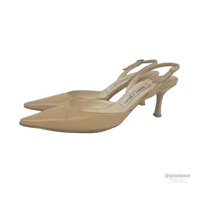 Item - Beige Nude Kitten Heel Slingback 37.5  Pumps Size EU 37.5 (Approx. US 7.5) Regular (M, B)