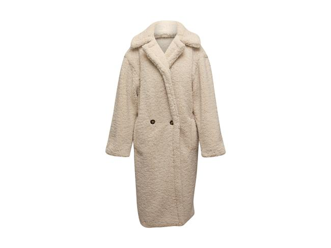 Item - White Fleece Double-breasted Long Coat Size 12 (L)