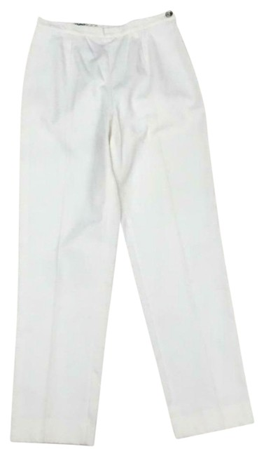 Item - White Pleat Front Zip Cropped Pants Size 10 (M, 31)