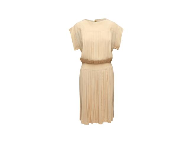 Item - Cream Vintage Boutique Silk Pleated Mid-length Short Casual Dress Size 8 (M)