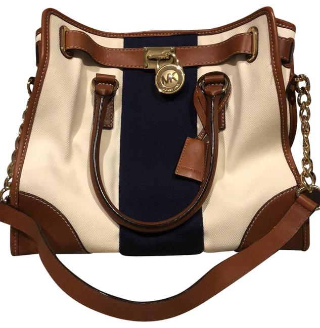 Item - Cruise Limited Edition Creamy White Navy Blue and Brown Leather Canvas Like Material Tote
