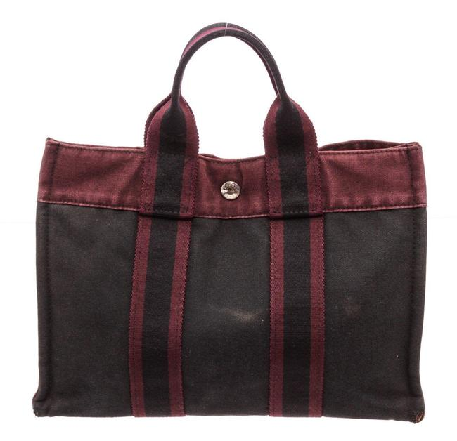 Item - Bag Pm Burgundy Black Canvas Tote