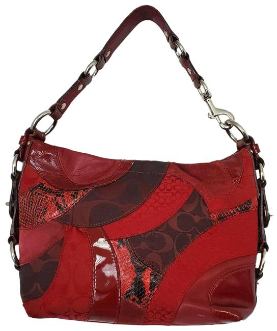 Item - Carly Patchwork Snake Leather Suede Purse Red Hobo Bag