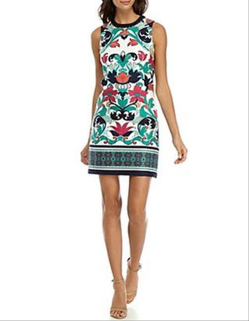 Item - Multicolor Printed Beaded Neck Short Work/Office Dress Size 6 (S)
