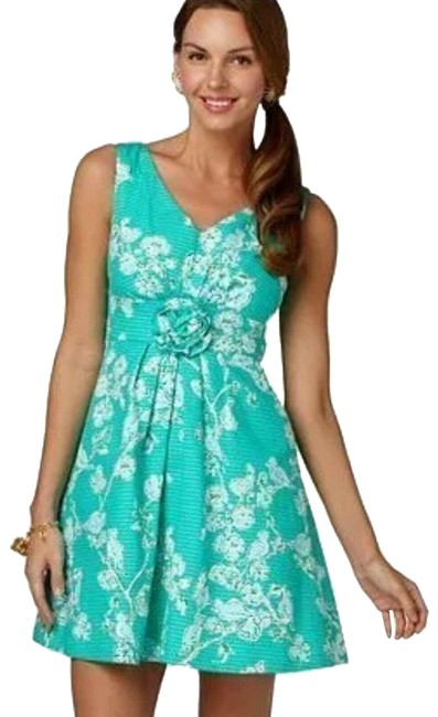 Item - Green & Blue Parker Lagoon Birds and The Bees Rosette Short Cocktail Dress Size 6 (S)