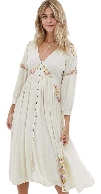 Item - Ivory Embroidered Midi Mid-length Casual Maxi Dress Size 8 (M)