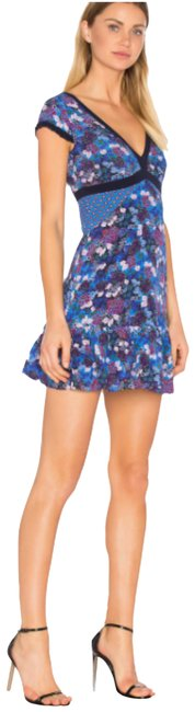 Item - Blue Revolve Floral Silk Avril V-neck Mini Tea Short Cocktail Dress Size 16 (XL, Plus 0x)