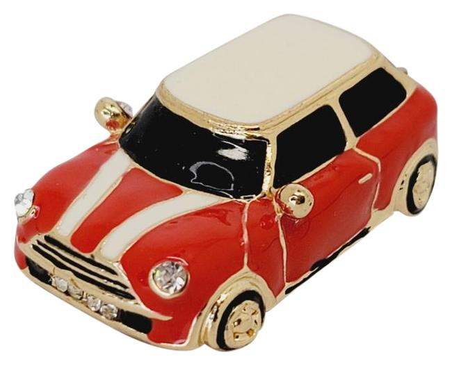 Item - Red White Black New Mini Cooper Charm Racing Stripes Enamel Tone Necklace