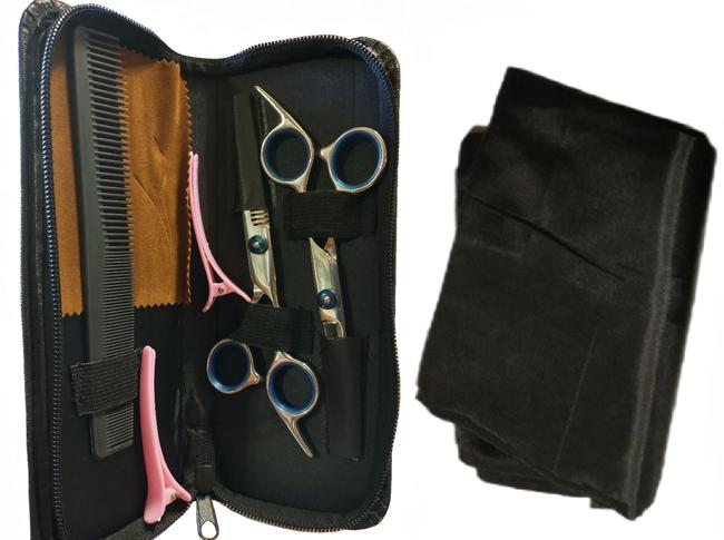 Item - Silver Blue Black Portable Haircutting Kit Scissors Shears Case Comb Clips Hair Accessory