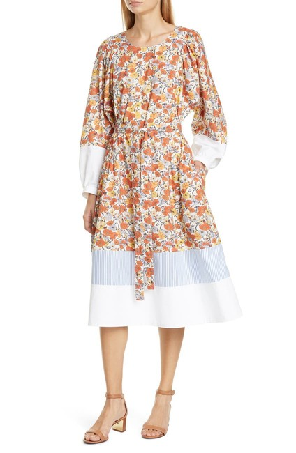 Item - Ivory Blossom Ditsy Printed Colorblock Mid-length Work/Office Dress Size 6 (S)
