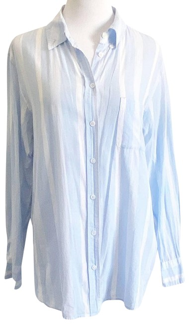 Item - Blue And White Striped Button Blouse Button-down Top Size 8 (M)