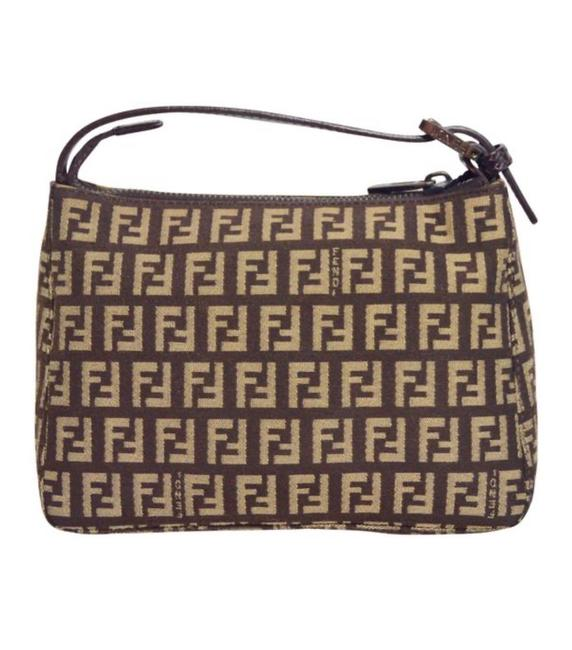Item - Zucca Beige and Brown Canvas Wristlet
