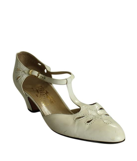 Item - Cream White T Strap Leather Heels (196951) Platforms Size US 10 Narrow (Aa, N)