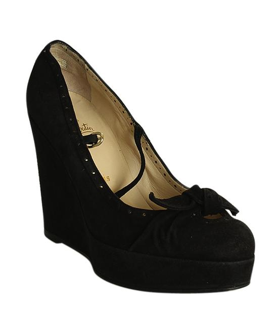 Item - Black Bow Suede (196947) Wedges Size EU 40 (Approx. US 10) Narrow (Aa, N)
