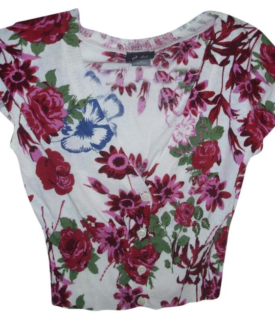 Dots Floral Junior Stretchy Extra Small Cutoff Button Down Shirt
