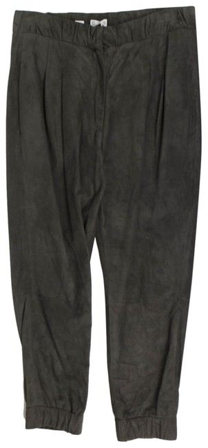 Item - Gray Suede Leather Pleated Casual 42/6 Activewear Bottoms Size 6 (S, 28)
