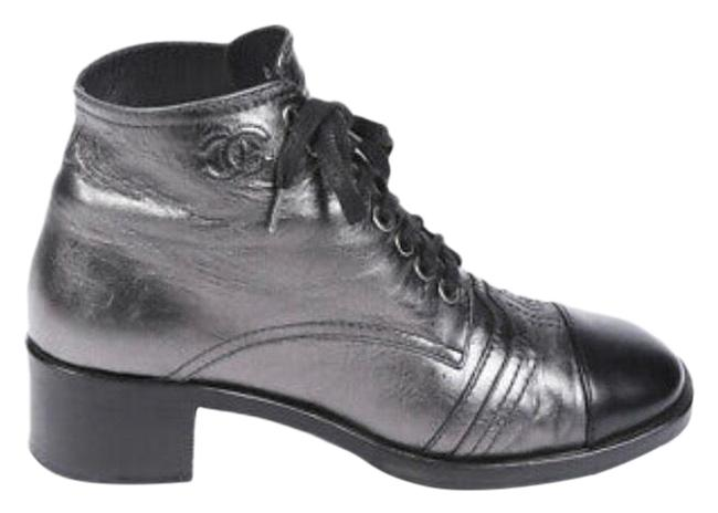 Item - Silver and Black Metallic Cap Boots/Booties Size EU 40 (Approx. US 10) Regular (M, B)