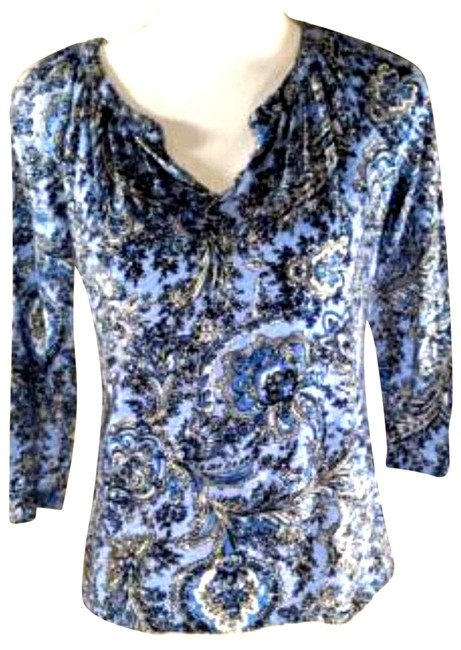 Item - Blue Womens White Floral 3/4 Sleeves Sp 739 Tee Shirt Size Petite 4 (S)