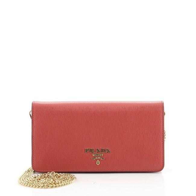 Item - Wallet on Chain Vitello Move Red Leather Cross Body Bag