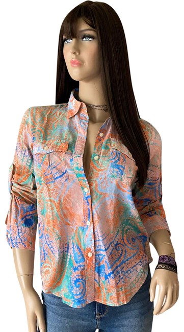 Item - Coral Multicolor Paisley Cotton Roll Tab Long Sleeve Shirt Button-down Top Size 2 (XS)