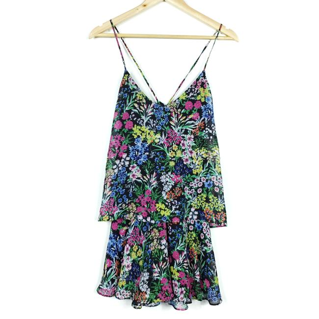 Item - Multi-color Black Floral Chic Mini Layer Up Short Casual Dress Size 4 (S)
