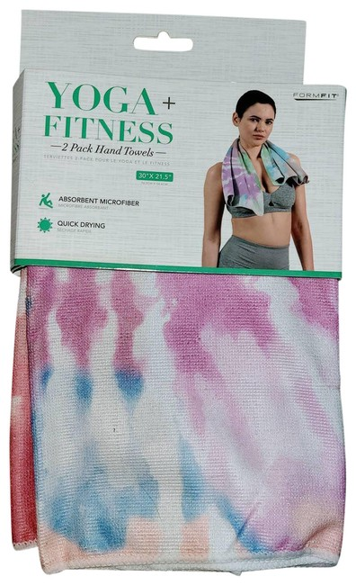 Item - Multicolor New Yoga and Fitness Tie Dye Microfiber Hand Towel 2 Pack Activewear Gear Size OS (one size)