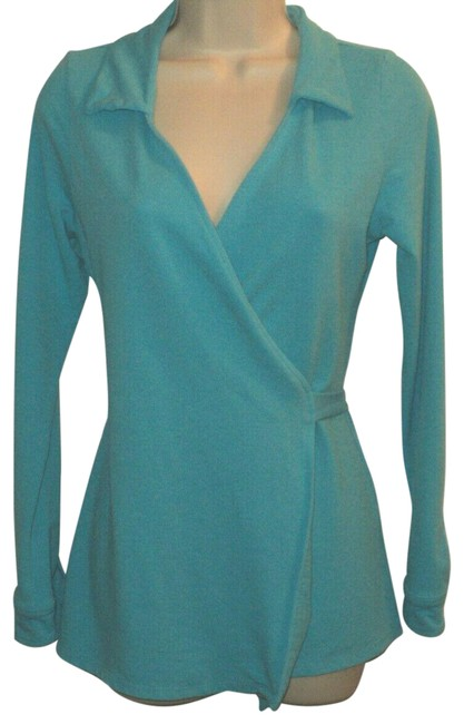 Item - Aqua Wrap with Tie Belt Long Sleeves Stretchy Knit Tunic Size 2 (XS)