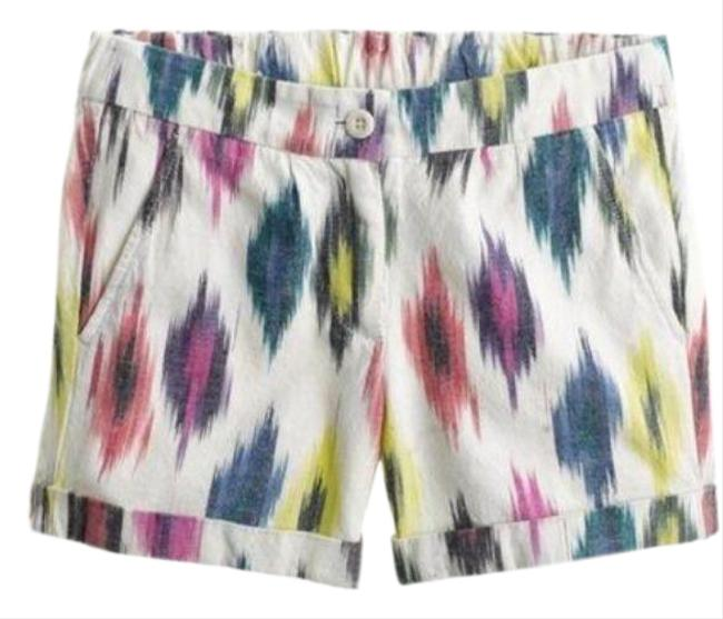 Item - White Purple Watercolor Ikat City Fit Rolled Shorts Size 6 (S, 28)