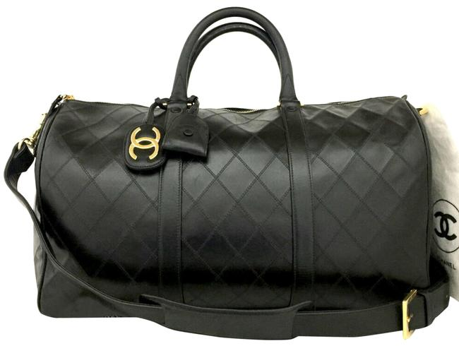 Item - W Cc Logo Luggage W/ Shoulder Strap Black Lambskin Leather Weekend/Travel Bag