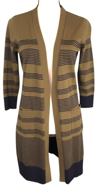 Item - Green Front Sweater Duster Black Striped P Cardigan Size Petite 4 (S)