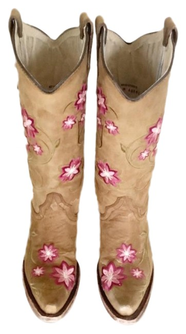 Item - Brown Pink Circle G Floral Embroidered Cowgirl Boots/Booties Size US 7 Regular (M, B)