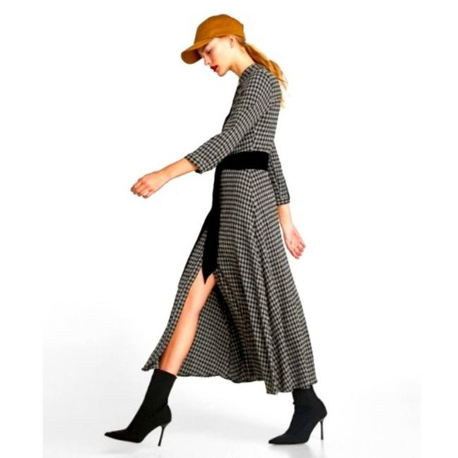 Item - Gray Checkered Gingham Sleeve Women's Large Midi Black Long Casual Maxi Dress Size 12 (L)