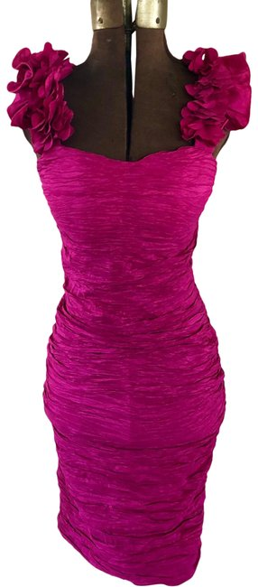 Item - Pink Crinkle Ruffle Bodycon Party Short Cocktail Dress Size 4 (S)