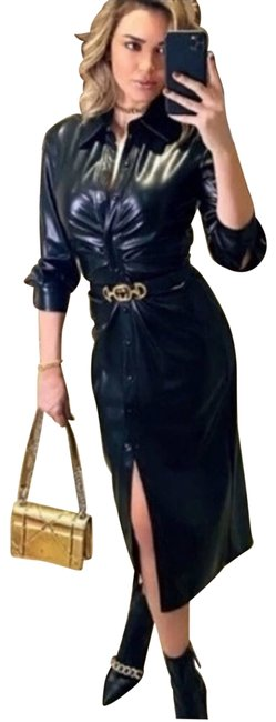 Item - Black Faux Leather Shirt Night Out Dress Size 2 (XS)