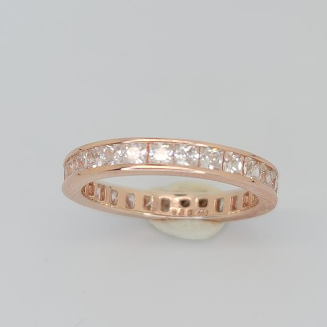 Item - Rose and White 4.70cttw Princess Cut Channel Set Eternity Band 18k Rg On .925 Ring