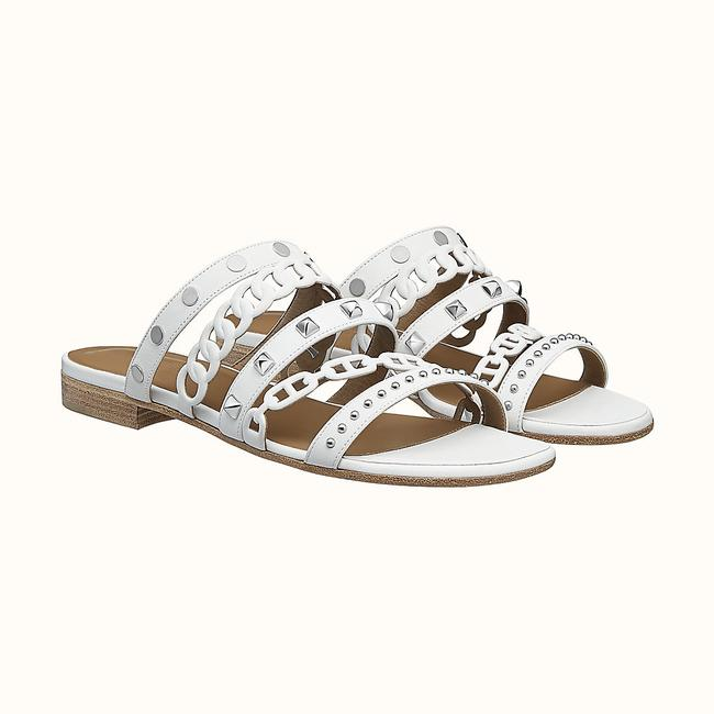 """Item - White Amalfi In Nappa Leather with Straps """"Chaine D'ancre"""" Sandals Size US 6 Regular (M, B)"""