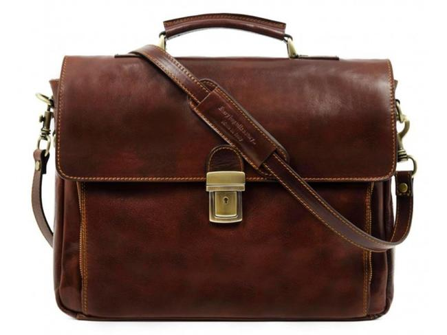 Item - In Cold Blood Brown Cowhide Leather Laptop Bag