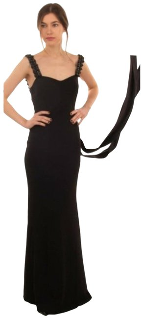 Item - Black Satin-trimmed Embellished Cady Trumpet Evening Gown Long Formal Dress Size 16 (XL, Plus 0x)